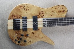 Wholesale Neck Through Body Bass Guitar - Custom Shop Natural Wood Burl One Piece Neck Through Active Pickups 5 Strings Fodera Butterfly 5 Strings Electric Bass Guitar 15