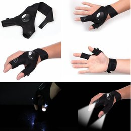 Wholesale rescue flashlights - Fingerless Glove LED Flashlight Torch Outdoor Fishing Camping Hiking Magic Strap Survival Rescue Tool Light Left Right Hand GGA486 100pcs
