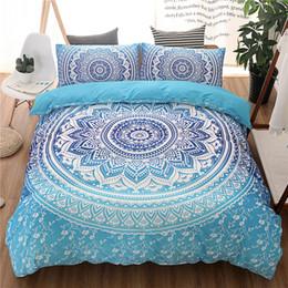 3pcs Mandala Print Juego de cama Queen Size Floral Pattern Funda nórdica Blanco y negro Bohemian Bedclothes Lotus Cama Set desde fabricantes