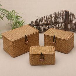 caja plegable de tela Rebajas Caja de almacenamiento de tejido de ratán con tapa para productos a granel Organizador de diverso alga marina Cesta de mimbre vintage Contenedor de joyería de mimbre