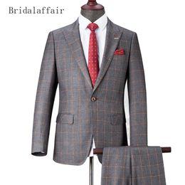 1d43256e1ff88 trajes de lana gris Rebajas Bridalaffair Fashion Grey Plaid para hombre  Trajes de boda mezcla de