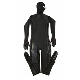 Uomini pieno tuta online-Body erotico Gay Men Sexy Fetish Latex Nightclub Catsuit Costumi in PVC Prisoner Cosplay Body Suit Tuta in pelle nera