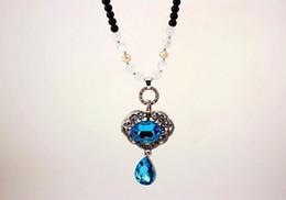 Collana imitazione zaffiro online-Classico Lucky Lock Blue imitazione Sapphire Collana maglione catena - Retro lega pendente collane lunghe per gioielli donna