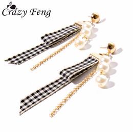 1ef3ad78c98c bisutería coreana Rebajas Tela escocesa de moda simulada-perla cadena borla  pendientes para mujeres del