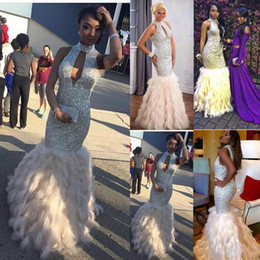 Wholesale Long Feather Dress For Prom - Stunning Sequined Feather African Prom Dresses Long Rhinestones Beaded High Neck Formal Gowns Floor Length Evening Dress For Women Plus Size