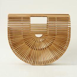 Ручки для дизайнера онлайн-2018 Fashion Bamboo Women Handbag  Designer Lady Tote Bags Top Handle Bamboo Bag For Women Summber Beach Handbag