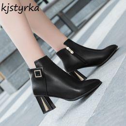 cb493de644 Kjstyrka botines mujer 2018 inverno plush fashion alta qualidade PU Leater  apontou toe mulheres botas senhora ankle boots bota feminina