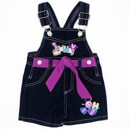 Tamanho do babador do bebê on-line-Estilo bonito 4 tamanho bebê meninas Bib calças de verão crianças Sling Infantil Jeans moda infantil roupas JJYZ135