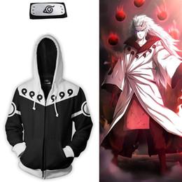 Canada Taille asiatique Japon Anime Uzumaki Naruto Noir Zipper Manches longues Cosplay 3D Unisexe Costume Manteau Veste À Capuche Bandeau Offre