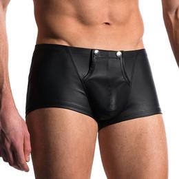 Wholesale Plus Size Leather Lingerie - Wholesale-Sexy Men Plus Size Open Crotch Boxers Faux Leather Stage U Convex Pouch Gay Wear Underwear Jockstrap Fetish Erotic lingerie FX11