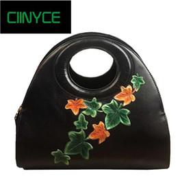 2019 bolsos originales hobo 2018 Original diseñador de la marca único de cuero de vaca genuino bolso de las mujeres Vintage flores Hobos Totes bandolera bandoleras bolsos originales hobo baratos