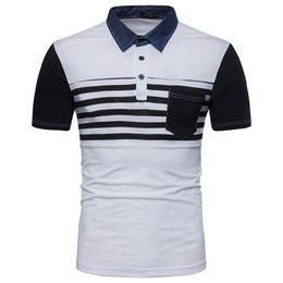 Wholesale Cotton Denim Shirts Men - S-2XL Summer Fashion Polo Shirt Male Stripes Color Denim Collar Patchwork Short Sleeve T shirt Cotton Clothes Black Gray White