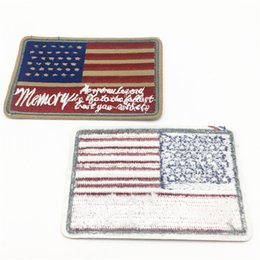 Wholesale Wholesale Jean Patches - 20pcs Diy USA Flag Patches Clothing Decoration Iron On Patch Applique Embroidered Sticker Jean Febric Badges 9x5.1cm