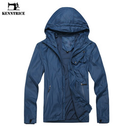 Wholesale Blue Moto Jacket - KENNTRICE Summer Windbreaker UV Protection Skin Coat Wind Breaker Male Jacket Biker Moto Jacket Hood Waterproof Men 2017 HYCD069