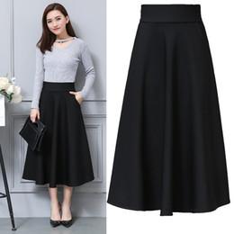 2019 jupes basiques 2018 été femme élégante taille haute slim plissée A-line jupe longue femme jupe taille plus vin noir promotion jupes basiques