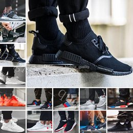 Wholesale Flat Packing - Cheap Triple White BZ0221 Triple Black BZ0220 NMD Japan Pack NMD R1 R2 Tri-Color Primeknit Running Shoes for men sneakers women Boost Shoes