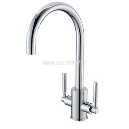 solid brass spouts Promo Codes - Wholesale High Quality 100% Solid Brass Double Handle Swivel Spout Kitchen Sink Mixer Taps Silver Chrome Mixer Sink Tap