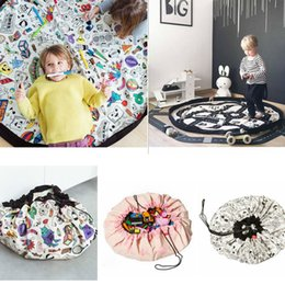 Wholesale wholesale graffiti toys - 135CM Portable Kids Toy Organizer Container Storage Bean Bag Drawstring for DIY Graffiti Doodling Mat Children Learn Painting AAA709