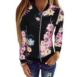 9657ffa9713 Плюс размер женские дамы Бейсбол пальто черный цвет цветочный принт молния  с длинным рукавом знаменитости камуфляж бомбардировщик Куртка для женщин xl  ...