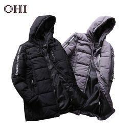 Wholesale College Outerwear - Ohi Winter Down Jacket Hooded Parka H28 Men Streetwear Coat Outerwear Fashion Male Zipper College Casual Overcoat