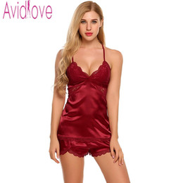Wholesale Plus Satin Pajamas - Avidlove Sexy Pajamas Women Lace Pyjamas 2017 New Sexy Satin Nightwear 4 Colors Plus Size Lace Nightgown Satin Sleepwear Set