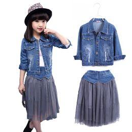 Wholesale Mesh Skirt Set - Kids Girls Skirt Set Spring 2018 New Girls Denim Jacket & Long Mesh Skirt Set 2 Pcs Clothing Skirts and Top Sets