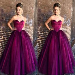 fdca2871295 2019 formale lila lange kleider für billig 2018 Großzügige Vintage Purple  Long Prom Kleider Tüll Eine