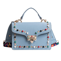 Wholesale Cheap Blue Roll - Fashion colorful rivet stud rolling small rivet shoulder bag women red handbag Fashion bags cheap crossboy bag 21x21x14cm 0.58KG