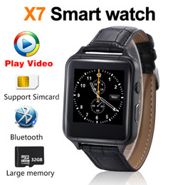 Wholesale Video Camera Apple - 2018 New Smart watch Video Bluetooth phone X7 Smartwatch dial Synchronous push Leather strap phonebook High speed CPU PK DZ09 A1 V8 QW09 X6