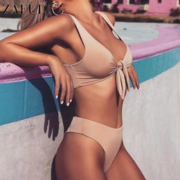 Wholesale Diving Swimwear - fashion Sexy Solid Padded Tied Bowknot High Waist Bikini Set Women Swimsuit Beach diving Beach Swimwear Bathing Suit Maillot De Bain