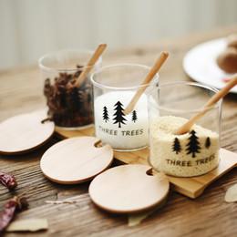 Frascos de vidrio online-Nuevo Creativo de alta calidad de vidrio Sazonador Jar Spice Jar Set Combinación de sal japonesa Suministros de cocina Bote de cristal