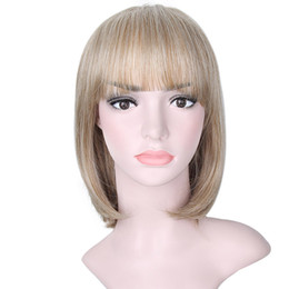 Wholesale Blonde Straight Bangs Wig - AISI HAIR Blonde Straight Bob Wigs with Bangs Synthetic Wigs for Women Cosplay Daily Party Wigs