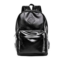 Mochila coreana para laptop online-Nuevos Hombres de la Moda Mochilas de Alta Calidad de Cuero de La Pu Masculina Coreana Mochila Estudiante Lager Boy Business Laptop School Computer Bag