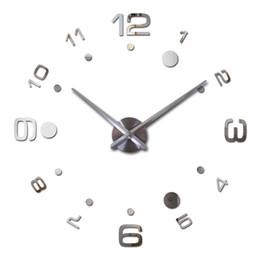 Wholesale diy wall clock metal - 2017 Top Fashion Diy 3d Clock Watch Wall Clocks Acrylic Mirror Home Decoration Quartz Circular Needle Modern Metal Free Shipping