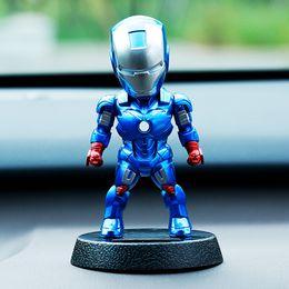 Wholesale Luffy Pvc - Q Version Action Figure ONE PIECE Luffy Tony Superhero Iron Man Batman PVC Figure Solar Energy Shake Head Toy 12cm Gift Toys in Car