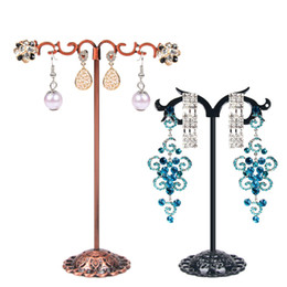 Wholesale Pvc Marketing - Metal Jewelry Earring Display Prop Stand with Piercing Holes Dangling Stud Earrings Holder for Kiosk Stall Trade Market Set of 3