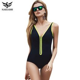 Wholesale Swim Suit Padded - One Piece Swimsuit 2018 New Plus Size Swimwear Women Vintage Bathing Suits Summer Beach Wear Zipper Padded Swimming 4XL