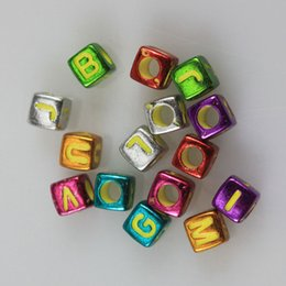 Jóias feitas contas quadradas on-line-300 Peças Carta Colorida Contas Do Alfabeto Para Fazer Jóias DIY Aleatória Misturado Quadrado Acrílico Beads Fit Needlework 6mm