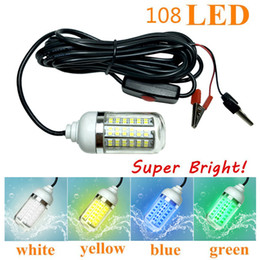 12V 15W Light Bulb LED Fishing Light 108LED SMD 2835 Waterproof Luring Fish Lamp Fishing Squid Fish Lure Marine Light Deals