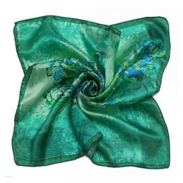 Wholesale Silk Square Neck Scarves - LESIDA 100% Silk Scarves Women Square Bandana Solid Color Flower Print Kerchief Female Foulards Neck Scarf 53*53CM ZS5031