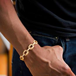 Cadeia de diamantes cz on-line-21 cm 2018 cubano elo da cadeia de laboratório diamante cz mens pulseira banhado a ouro iced out bling Legal hip hop Rock boy homens cadeia de jóias KKA2189