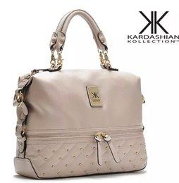Kim kardashian kk bolso de la marca online-Al por mayor-Kim kardashian kollection kk bolso de la marca del diseñador bolsa de la marca 2015 bolsos de las mujeres remache de moda cubo de cadena de oro bolsas de mensajero