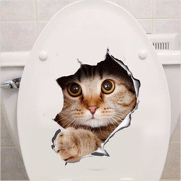 Wholesale Wall Decals Kitchen - 3D Wall Sticker Cats Dogs Printed Sticker for Kitchen Toilet Refrigerator Animal Decals Bathroom Living Room Home Decoration