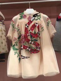 Wholesale Sequined Short Dresses - Fashion Flower Girl Dress beige Sequined Tulle Hi-lo Wedding Party Dress 2018 Summer Princess Dresses Clothes