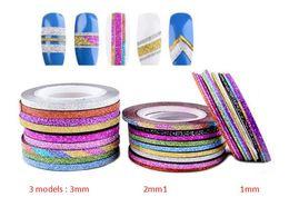 Wholesale Metallic Nails Stickers - 10 Mixed Colors Rolls Lot Fashion Multi Mix Colors Rolls Striping Tapes Line Metallic Yarn Nail Art Patterns Decoration Wraps Sticker Highli