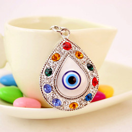 blue eye pendants for women Coupons - Tear Drop Key Chains Rings Holder Big Blue Angel Eyes Bag Pendant For Car Keyrings KeyChains