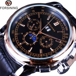 Wholesale shanghai watches - Forsining Moon Phase Shanghai Movement Calendar Design Rose Gold Genuine Leather Men Watch Top Brand Luxury Automatic Watch
