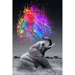 Wholesale Elephant Crafts - Elephant & Colorful Colors Full Drill DIY Mosaic Needlework Diamond Painting Embroidery Cross Stitch Craft Kit Wall Home Hanging Decor