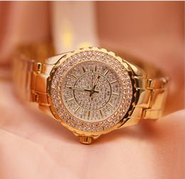2018 Brand gold Quartz dress watches mix for big wrist Women Rhinestone  Watches steel bling bling diamond lady clock e2352d05ef95