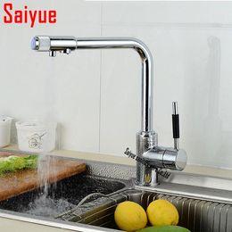 Faucet puro on-line-Varejo por atacado latão torneira da cozinha, multifuncional torneira de água pura, torneira de água potável, pia da cozinha purificador misturador
